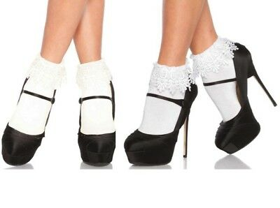 Leg Avenue White Or Ivory Acylic With Venice Lace Top Anklets Ankle Socks O/S