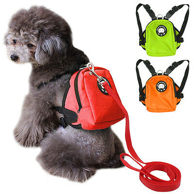 New Pet Puppy Dog Harness Bag Lead Set Saddle Backpack Dog Travel Food Carrier