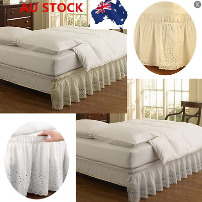 AU Soft Elastic BED LACE RUFFLE SKIRT Easy Fit Wrap Around Bed Skirt Queen&King