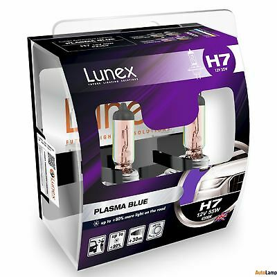 2x H7 Lunex PLASMA BLUE 477 12V 55W Car Headlight Halogen Bulbs PX26d 4200K