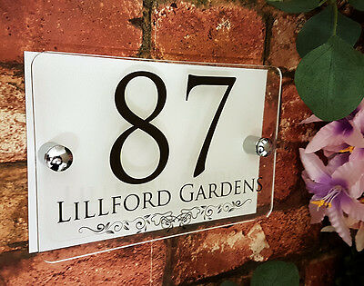 Personalised house address plaques with decorative pattern