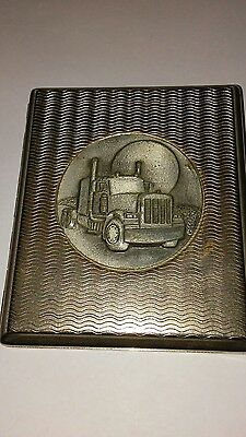 Vintage Metal Cigerette case with a diesel truck picture on front
