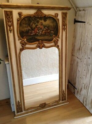 Vintage French Shabby Chic Trumeau Pictorial Mirror. Delivery Available See Desc
