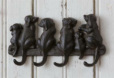 Dogs or Puppies Cast Iron 4 Hooks Wall Rack, Leash, Key, New, Rustic Brown Black