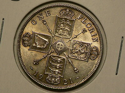 Great Britain 1921, Silver Florin, KM#817a, Strong Luster  #G6537