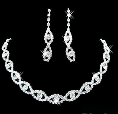 NEW Bridal Wedding Jewelry Set Crystal Rhinestone Diamante Necklace & Earrings
