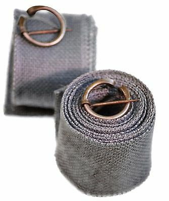 Medieval-SCA-LARP-Reenactment-Viking NEW GREY HESSIAN BLEND PUTTEES WITH CLASPS