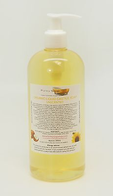 Organic Liquid Castile Soap, unscented 100% Natural SLS Free 500ml