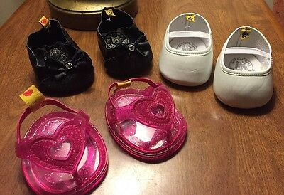 Build A Bear Shoes Lot Pink Jellies White Patent Leather Black Sparkle With Bows