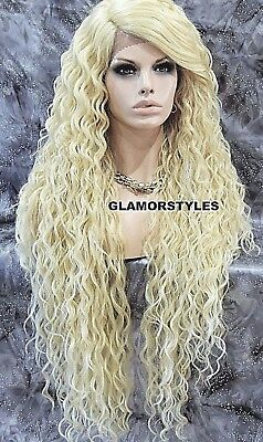 Long Curl Layered Bleach Blonde Full Lace Front Wig Heat Ok Hair Piece #613 NWT
