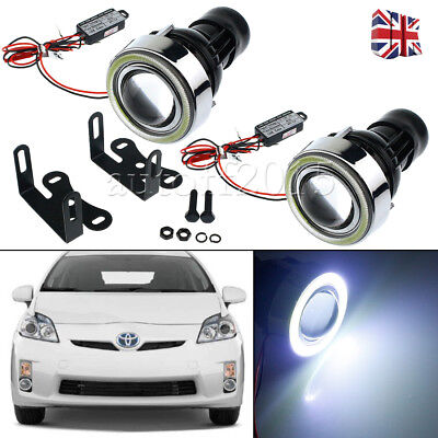 "3"" 40-LED Car Projector Fog Light Lamps Halo Angel Eyes Rings white UK STOCK"