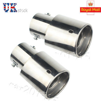 2x Exhaust tail pipe tip Stainless Steel Car Muffler Tip Tailpipe Universal UK