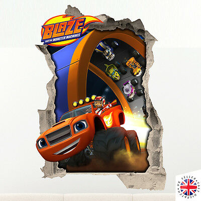 3D BLAZE AND THE MONSTER MACHINES Wall Sticker Vinyl Mural Bedroom Poster Boys