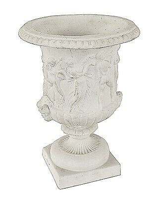 Pair of Italian Neo-Classic Style White Parium Classical Shaped Small Urn