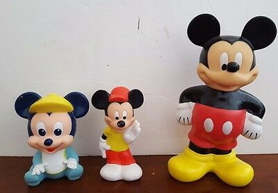 Mickey Mouse Walt Disney Lot of 3 Squeaky Toy Water Bottle Rubber Toy RARE