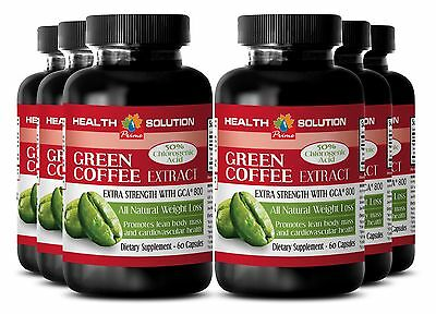 6 Bot Pure Weight Loss Detox Fat Burner Green Coffee Extract With Gca® 800