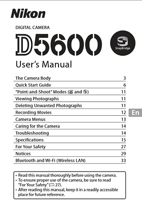 Nikon D5600 Digital Camera User's Manual Guide Book Brand New. Never Used