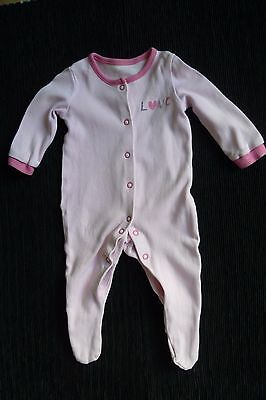 """Baby clothes GIRL 0-3m George pinks """"love"""" soft babygrow SEE SHOP! COMBINE POST!"""