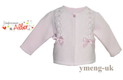 *NEW AW 17* Gorgeous Baby Girl Spanish Pink Knitted Cardigan with Ribbon&Bow
