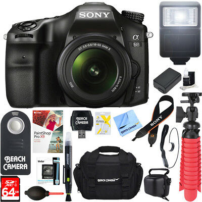 Sony a68 24.2MP Digital Camera w/ 18-55mm Lens + 64GB Deluxe Accessory Bundle