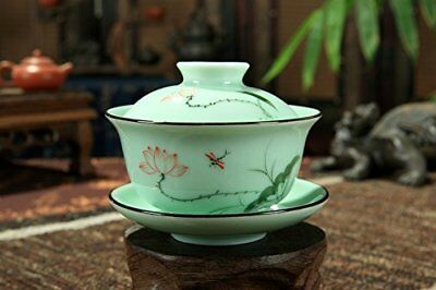 Chinese Style Celadon Gaiwan Teacup/ Coffee Cup Hand Painted/lotus