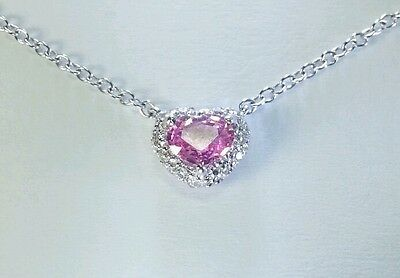 14K White Gold Diamond + Pink Sapphire Heart Pendant Necklace 0.43Cts Total Wt