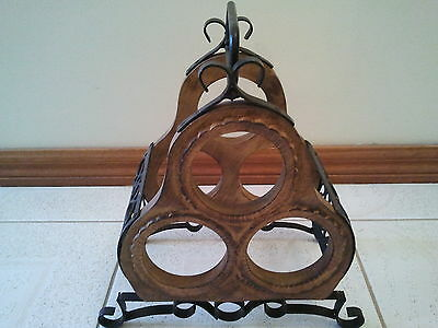 Carved Wooden And Metal Wine Bottle Holder Rack
