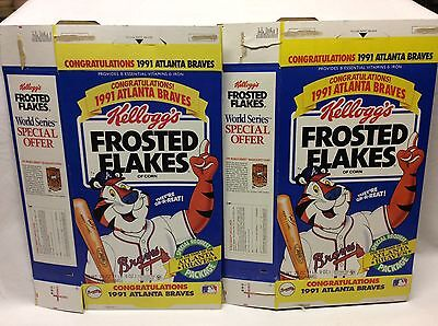 2 Kellog's Frosted Flakes Cereal Boxes 25oz. 1991 CONGRATULATIONS ATLANTA BRAVES