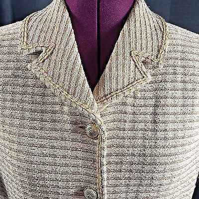 Vintage St John Collection Gold Metallic Short Sleeve Jacket Blazer Cardigan 6