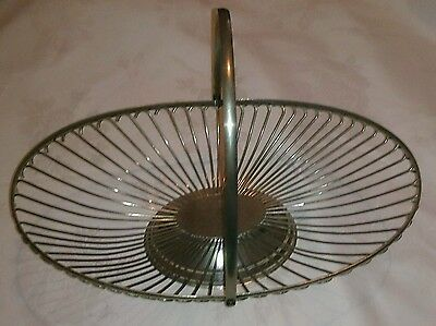 """Vintage silver plated wire fruit basket bowl a large 14"""" across with handle"""