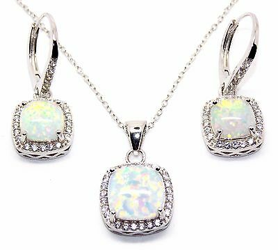 Sterling Silver Fire Opal And Diamond 8.46ct Cluster Necklace Set (925)