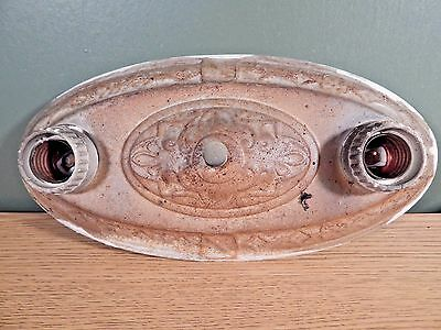 Oval Antique 2 Light Embossed Metal Ceiling Light Fixture To Restore
