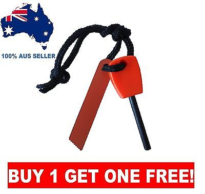 2 FOR 1 Survival Flint Rod Fire Starter Camping Outdoor Emergency Magnesium Tool