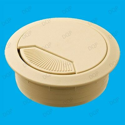10x 60mm Beige PC Computer Desk Plastic Grommet Table Cable Tidy Wire Hole Cover