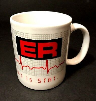 Vtg ER TV Show Coffee Mug 95 Official Warner Bros Where Everything is Stat EUC