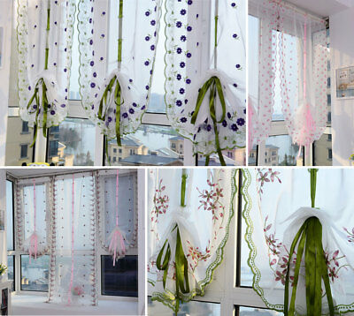 Chic Flowers Voile Tulle Curtains Sheer Panel Drapes Door Curtain Window Room