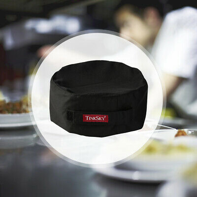 Top Skull Cap Professional Catering Chefs Hat with Adjustable Strap Black