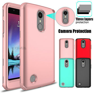 Hybrid Shockproof Rugged Rubber Hard Armor Case Cover For LG K20 Plus / Harmony