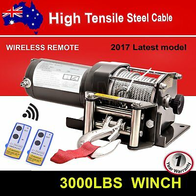 3000lb 12V ELECTRIC WINCH WITH WIRELESS REMOTE TRAILER 4x4 TRUCK BOAT ATV SUV AU