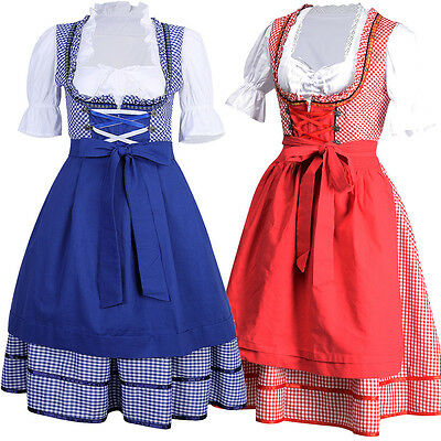 3pcs Dirndl Traditional Dress German Bavarian Oktoberfest Beer Girl Costume S-XL