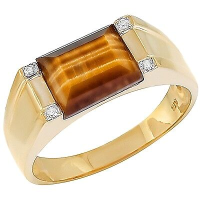 Tiger Eye & 4 Diamond 9K 9ct 375 Solid Gold Gents Mens Ring GENUINE Natural