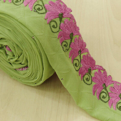 Indian Vintage Embroidered Used Sari Border Green Antique Ribbon Sewing 1YD Lace