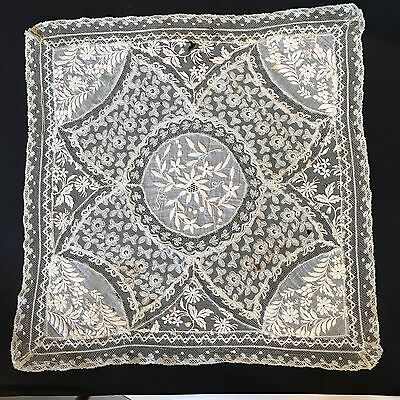 Antique Lace Hankie As Is Embroidered Tambour Hanky Handkerchief