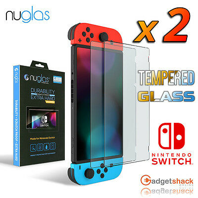 2x GENUINE Nuglas Nintendo Switch Tempered Glass Screen Protector Film Guard 9H