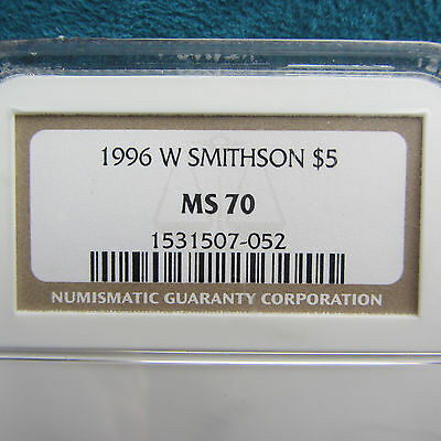 1996-W $5 GOLD NGC MS70  Smithson - Commem perfect grade