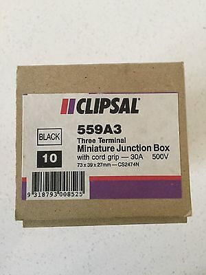 NEW Clipsal Miniature J-Box with cord grip 559A3 Black - 10 available