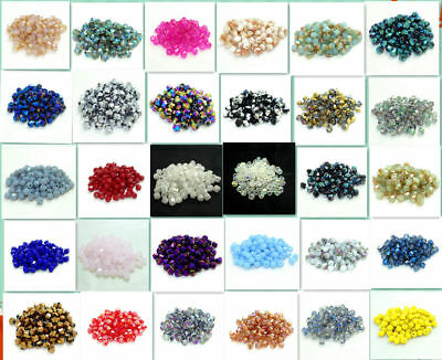 Wholesale 200pcs bicone crystal glass 4mm loose spacer Beads 25Colors