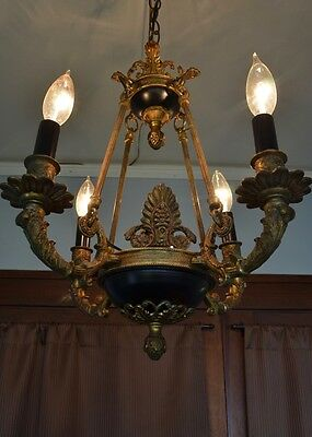 French Empire Chandelier Brass Bronze Ormolu Antique Vintage 4 Light