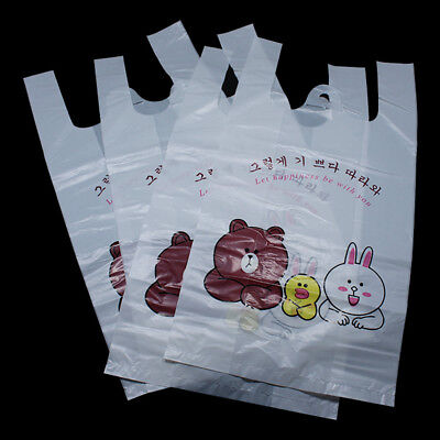 Gift Packing White Cartoon Bags Small Size Shopping Bag Snack Pouch Carrier Bag