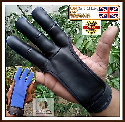 Archers Shooting 3 Fingers Gloves-Archery,hunting Leather  And Four Way Gloves